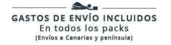 Gastos de envío incluidos en todos los packs, a Canarias y península